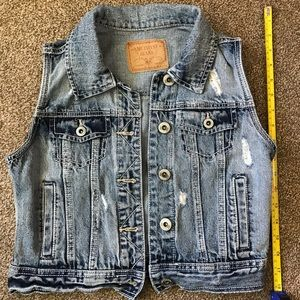 Amethyst Jeans distressed denim vest, jacket Small